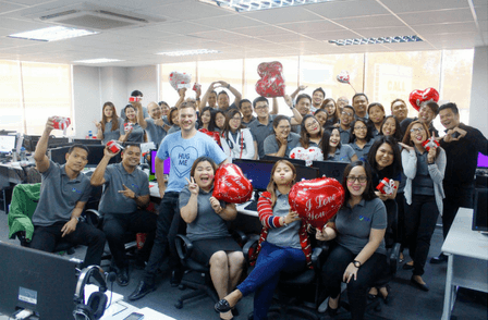 Outsourcing philippines - TOA staff on Valentines Day